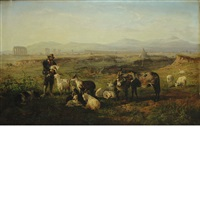 a shepherd and his flock at rest by charles h. poingdestre