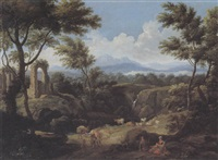 paesaggio fluviale con figure by francesco-maria bassi the elder