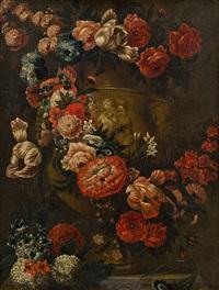 blumengirlande um eine vase mit putten by c. de vil