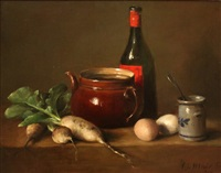 still life with teapot, wine bottle and parsnips by cornelis le mair