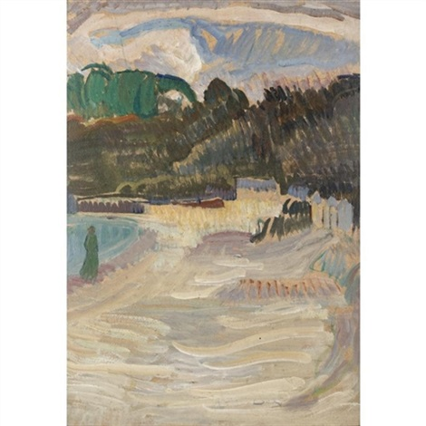Figure on the beach, Studland Bay by Vanessa Bell on artnet