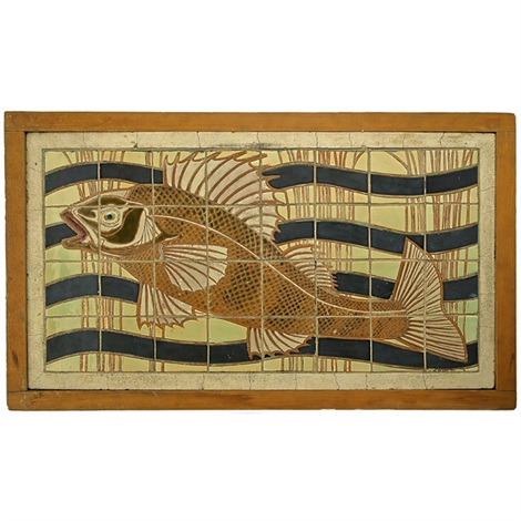 tile incised and decorated with fish and waves by frederick hurten rhead