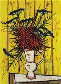bouquet de fleurs sur fond jaune by bernard buffet