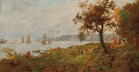 view of the palisades on the hudson by jasper francis cropsey