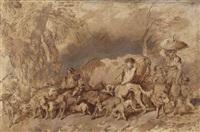 berger conduisant un troupeau de moutons avec une vache et des chiens et une femme entourée d'enfants by giovanni benedetto castiglione (il grechetto) and filippo gagliardi