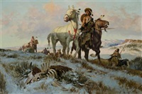 leading their buffalo horses by charlie dye
