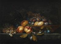 nature morte au pêches, prunes et grappes de raisin dans un panier sur un entablement by paul liegeois
