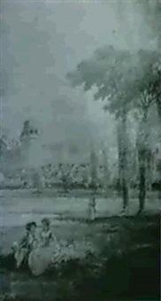 scene galante au pied du chateau by gaston jobbe-duval