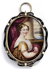 lady lucy eleanor lowther, née sherard, in gold robe with slashed sleeve pinned at shoulder with pearl and gem-set clasp by nicolas andré courtois