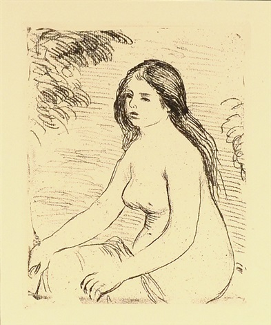 femme nue assise from the delteil 12 by pierre auguste renoir