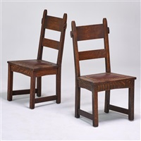 pair of rabbit-ear side chairs (no by gustav stickley