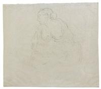 recto : mère et son enfant ; verso : scène de procès et crocodile by honoré daumier