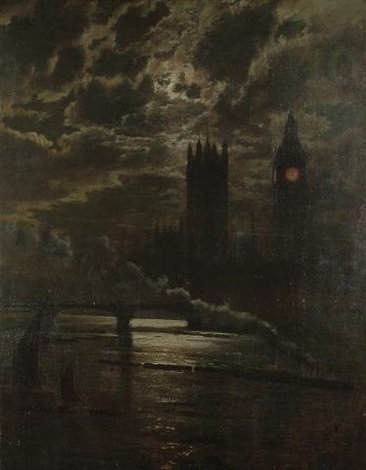 the palace of westminster from the thames by moonlight by leonidas clint miles