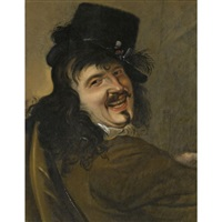 a laughing man wearing a black hat by petrus staverenus