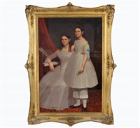 untitled, portrait of two girls by moses billings