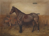 chestunt hunter in a stable by alfred grenfell haigh