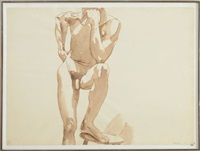 standing male nude by philip pearlstein