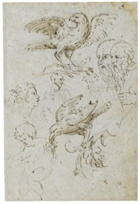 madonna of the fish and two studies of a bird (study after raphael) (+ a classical archway with a rusticated column and an entablature (study), verso) by cristofano (chr. dal borgo e doceno) gherardi