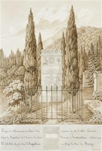 monument à l'abbé guénée : stèle du cimetière et reprise de projet (4 works) by maximilien-joseph hurtault