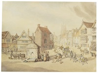 the marketplace at market harborough by thomas rowlandson
