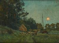 la conduite du troupeau au bord du canal au coucher du soleil by franz courtens