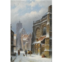 a snow covered street in zaltbommel, the grote kerk in the background by eduard alexander hilverdink