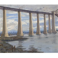 kite balloon and grand fleet in the distance, the piers, forth bridge by john lavery
