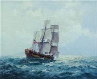 sailing ship & coast by john allcott