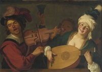 a merry group behind a balustrade with a violin and a lute player by gerrit van honthorst