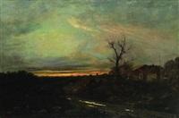 paesaggio di campagna all'imbrunire con casa colonica e ruscello by pietro senno