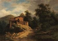 bergers devant une maison by nicolas-victor fonville