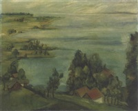 houses along a coastal inlet by frederick taubes