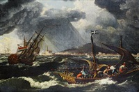 shipping in choppy seas, a mediterranean port beyond by johann anton eismann