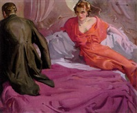 couple seated on bed, he in tuxedo, she in dressing-gown by elbert mcgran jackson