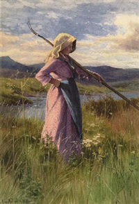 girl in a field by georgina m. de l' aubiniere