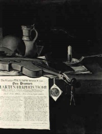a vanitas still life homage to the admiral marten herperts by antonius leemans