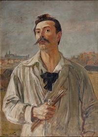 autoportret na tle wawelu by vlastimil hofmann