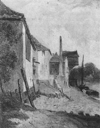 landscape with buildings by the river's edge by robert leman