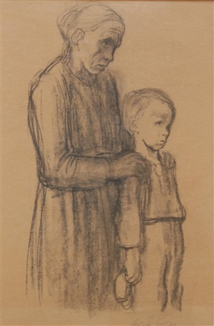 a woman with an upset young boy by käthe kollwitz