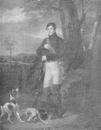 portrait de chasseur sur fond de paysage by jean paul alaux