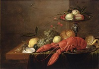 a still life with a lobster on a pewter plate, a silver tazza with peaches and cherries, together with white grapes, lemons, oysters and a bun by philips gysels