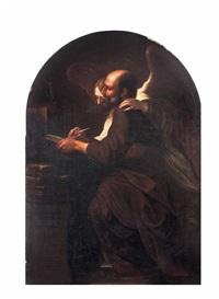 der hl. evangelist matthäus mit dem engel vor dem gekreuzigten by michelangelo merisi da caravaggio