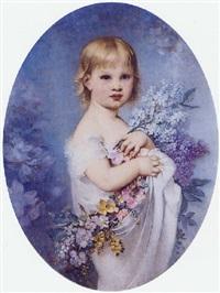 fillette au bouquet de lilas by andré charles voillemot