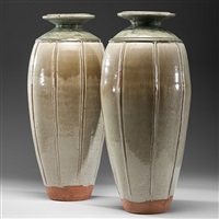 pair of tall baluster vases by richard batterham