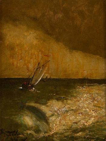 voilier près du ressac by alfred stevens