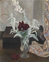vase of flowers with digitalis by john northcote nash