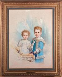 édouard et etienne de fitz-james, vus dans un intérieur en habit de dentelle tenant leur marionnette by charles camino