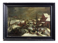 a winter landscape with the massacre of the innocents by jacob grimmer