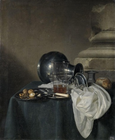 a still life with a pewter jug on its side a glass of beer and walnuts on pewter dishes all arranged on a table draped with a green cloth by simon luttichuys