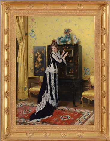 elegant lady standing by a chinese cabinet by gustave léonhard de jonghe
